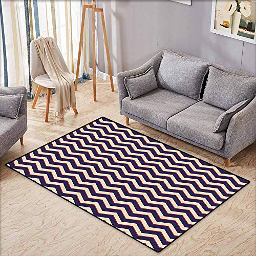 - Anti-Static Rug Navy Zigzag Striped Design in Modern Colors with Art Fashion Chevron Lines Pattern Purple Tan Red Breathability W5'2 xL4'6