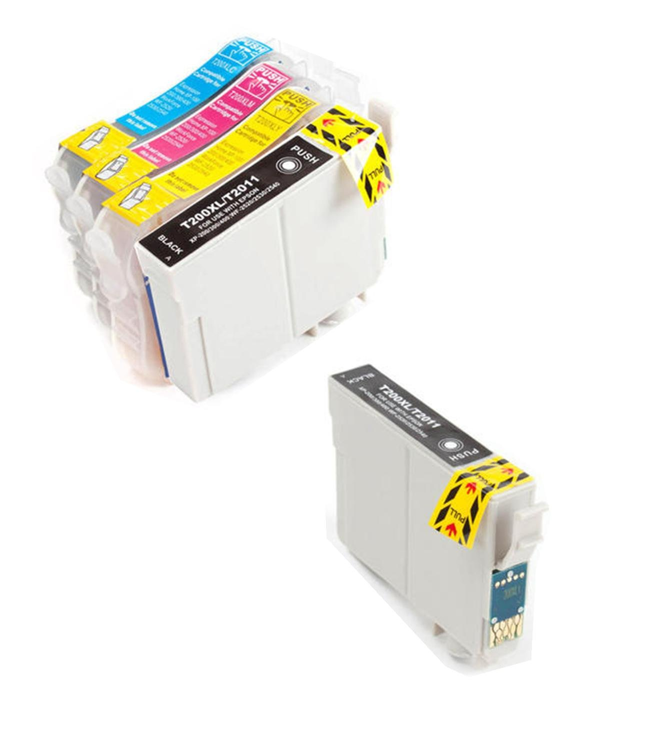 5 Pack - Toners & More ® Remanufactured Inkjet Cartridge Set for Epson T200XL #200XL T200 #200, T200XL120 Black, T200XL220 Cyan, T200XL320 Magenta, T200XL420 Yellow, Compatible with Epson WorkForce WF-2520, WF-2530, WF-2540, Expression XP-200 Small-in-