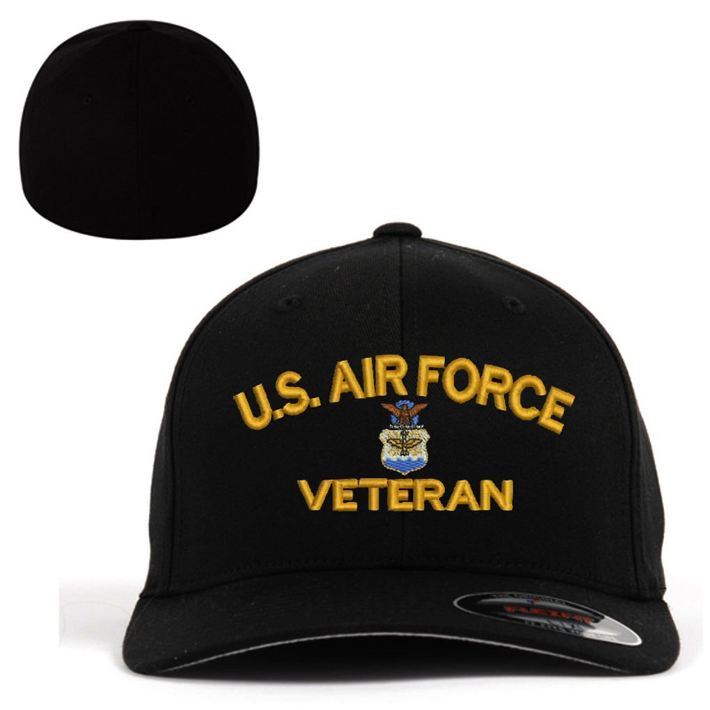 6214cb3529e USAF U.S.Air force Veteran Flexfit Baseball Cap Military Hat Black. by  Military