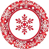 Amscan Winter Holiday Paper Plates Christmas Party Disposable Party Value Tableware (40 Pieces), Red, 6 3/4""