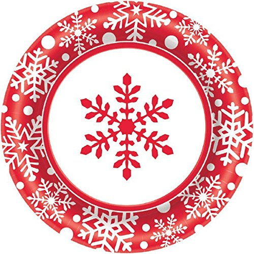 Large Winter Holiday Paper Plates Christmas Party Disposable Party Value Tableware (40 Pieces), Red, (Disposable Santa Costume)