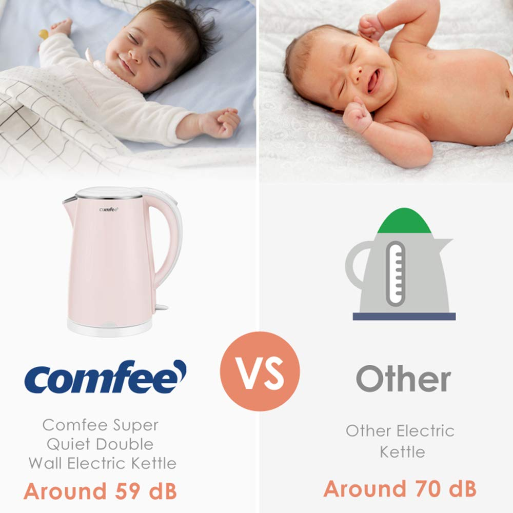 COMFEE' MK-HJ1705a1 Electric Kettle Teapot 1.7 Liter Fast Water Heater Boiler 1500W BPA-Free, Quiet Boil & Cool Touch Series, Auto Shut-Off and Boil Dry Protection, 1.7L, Baby Pink by COMFEE' (Image #4)