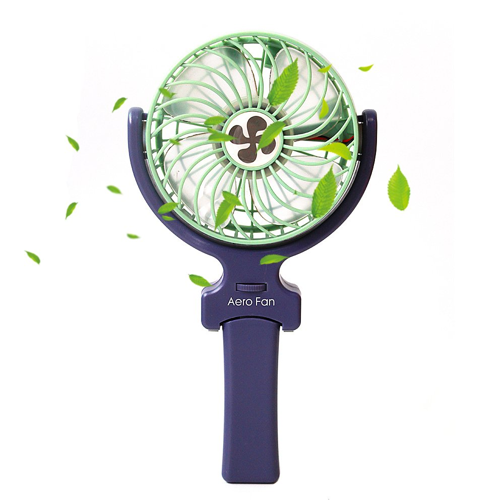 Zenth Mini Handheld Fan, Portable 360 Degree Adjustable 3 Speeds Foldable Cooling Fan with USB Rechargeable 2000mAh Battery for Home&Office&Travel&Camping Use (Green)