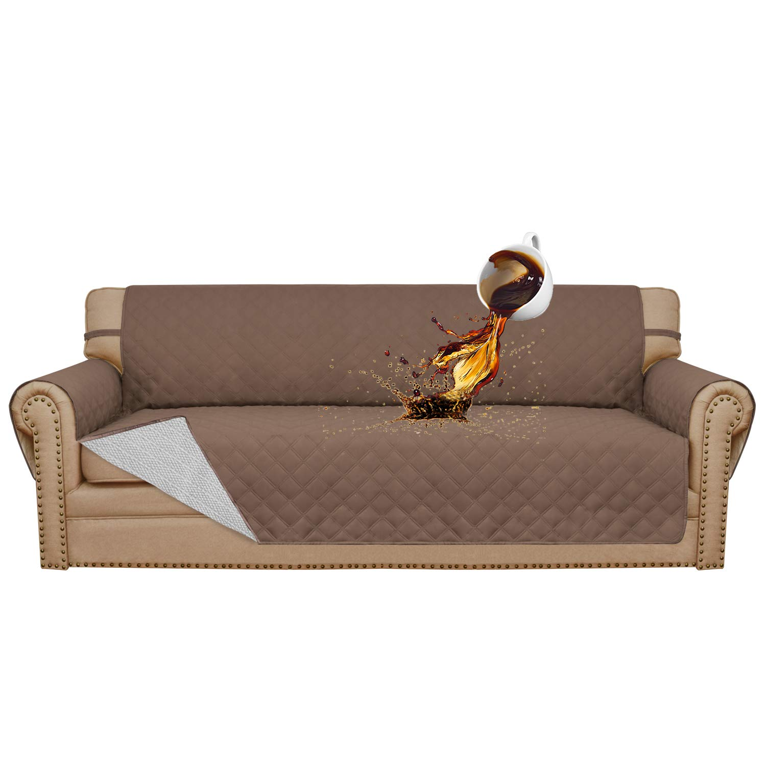 Easy-Going 100% Waterproof Sofa Slipcover Furniture Protector Couch Slipcover Pets Covers Whole Fabric No Stitching Slip Resistant Non-Slip Fabric Pets Kids Children Dog Cat(Sofa,Brown)