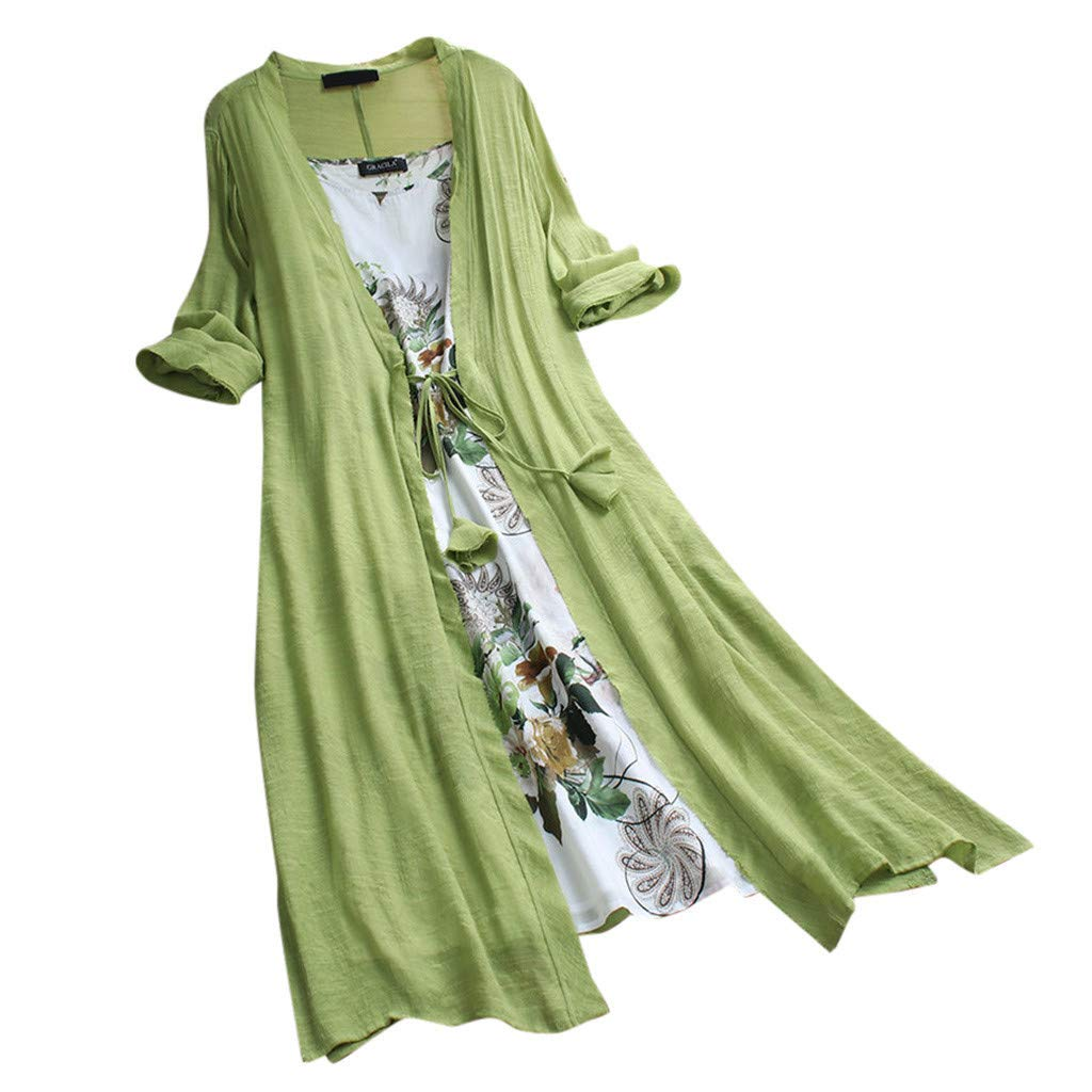 OOEOO Women Vintage Print Floral Dresses O-Neck Short Sleeve Patch Asymmetrical Dress (Green,XXXXXL)