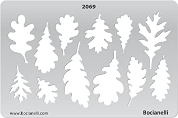 Bocianelli Plastic Stencil Template for Graphical Design Drawing Drafting Jewellery Making - Oak Tree Leaves