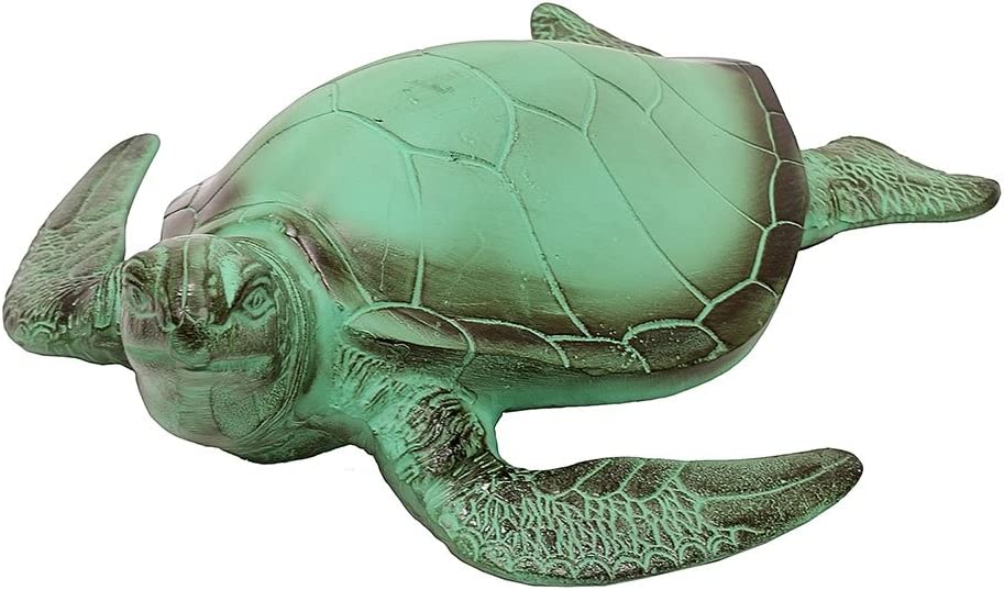 Achla Designs TUR-01 Sea Garden Animal Art Sculpture Statue Turtle, Verdigris