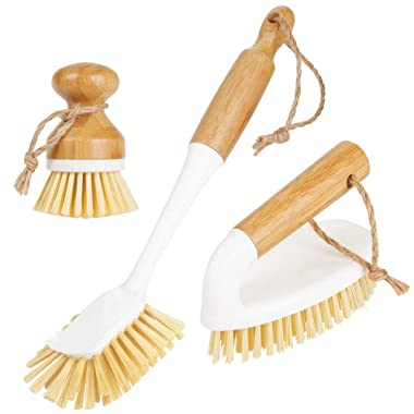 mDesign Bamboo Household Cleaning Sink Wet Scrubber Brushes, Stiff Bristles, for Kitchen, Bathroom, Laundry - Combo Includes Mini Palm, Long Handled Dish, Utility Brush - Set of 3 - White/Natural Wood