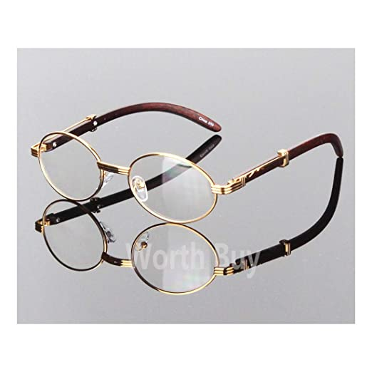 62953f1201b Image Unavailable. Image not available for. Color  Womens Men Retro Vintage  Clear Lens Gold Wood Frame Fashion Designer Eye Glasses