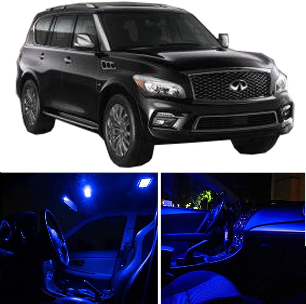 cciyu LED Interior Light Accessories Replacement Parts Replacement fit for Infiniti QX80 2014-2017 Package Kit Blue Light 13 Pack