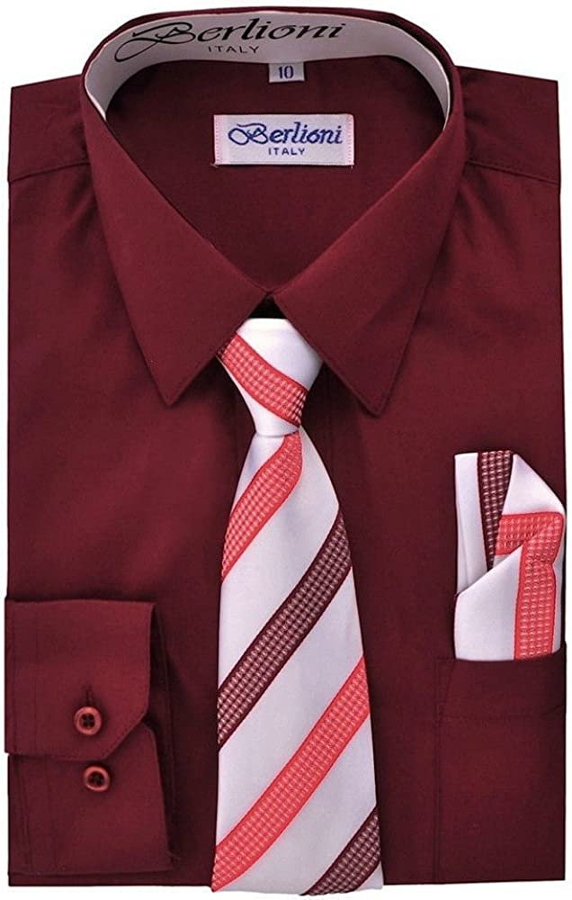 Berlioni Italy Kids Boys Italian Long Sleeve Dress Shirt With Tie /& Hanky Fuchsi