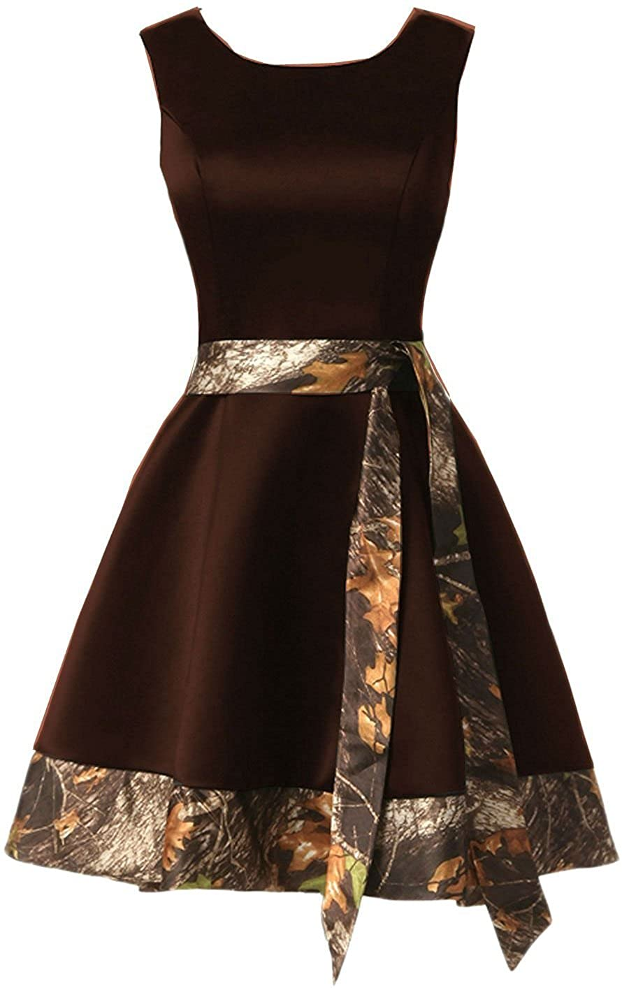Chocolate Jingliz Short Camo Homecoming Dresses Satin Bridesmaid Dress Prom Gown