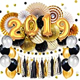 NICROLANDEE 2019 New Years Eve Party Supplies - 2019 Number Balloons Centerpiece Black and Gold Tissue Pom Poms Striped Paper Lanterns Hanging Stamping Paper Fans Graduation Party Decorations