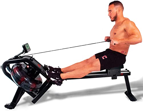 GoBeast Water Rowing Machine with Performance Monitor and Ergonomic Seat