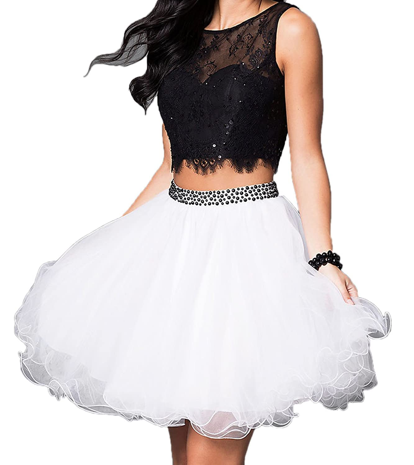 LM Two piece Lace Tulle A Line Mini Short Prom Homecoming Dresses