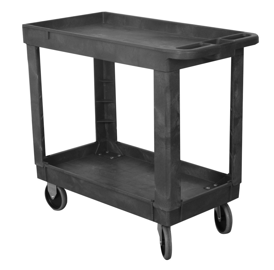 Wesco Industrial Products 270494 Plastic Service Cart, 330 lb. Capacity, 17.25'' Width x 30.635'' Height x 34'' Depth, 16'' x 30''