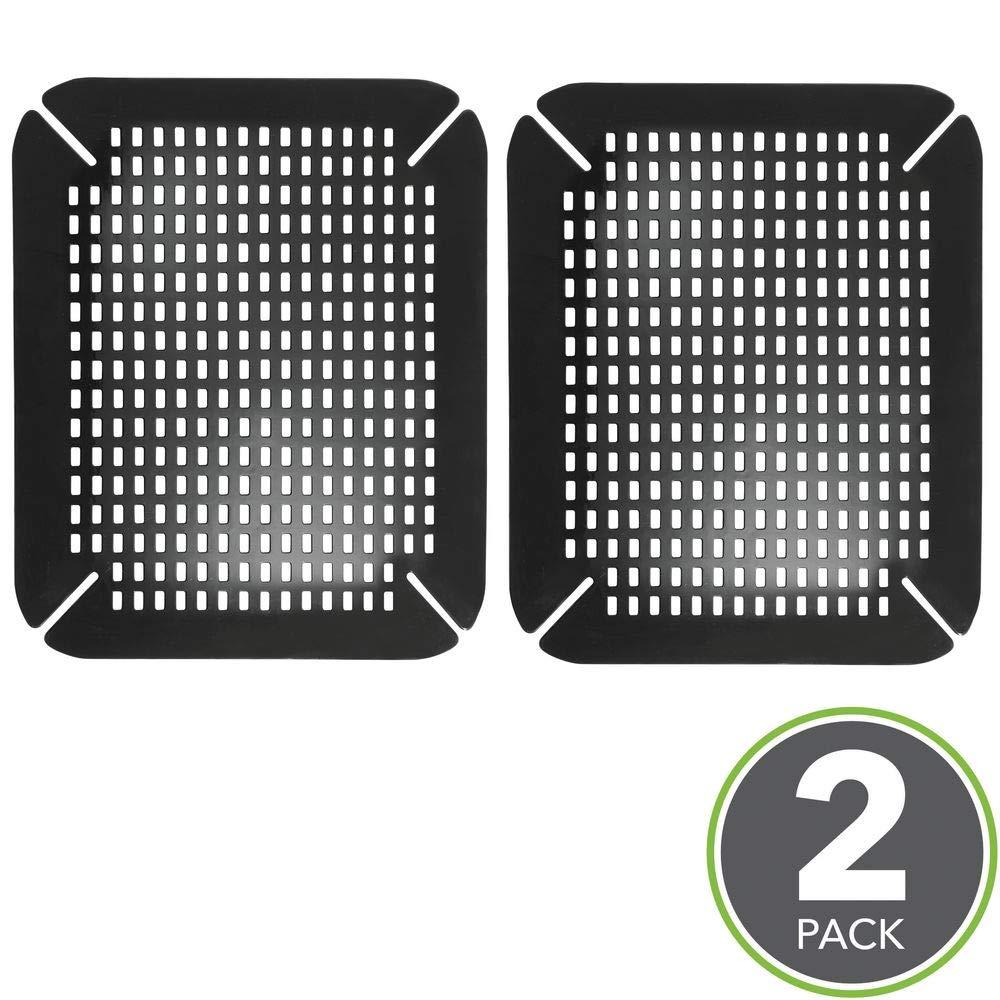 mDesign Set da 2 tappetini protettivi per lavello nero Stuoiette per sgocciolatoio in plastica PVC Pratici tappetini per lavandino cucina