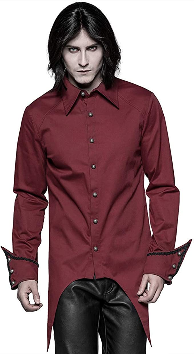 Punk Rave Hombre Vampiro Gótico Camisa Top Rojo Steampunk Vintage Victoriano Boda: Amazon.es: Ropa y accesorios