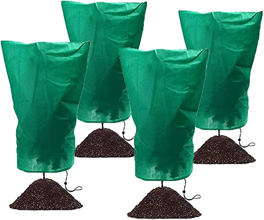 4 Pieces Winter Drawstring Plant Cover Plant Protection Cover Bags Frost Protection Bag Preventing Freezing Frost Bad Weather Pests Eating 24 x 43 Inch