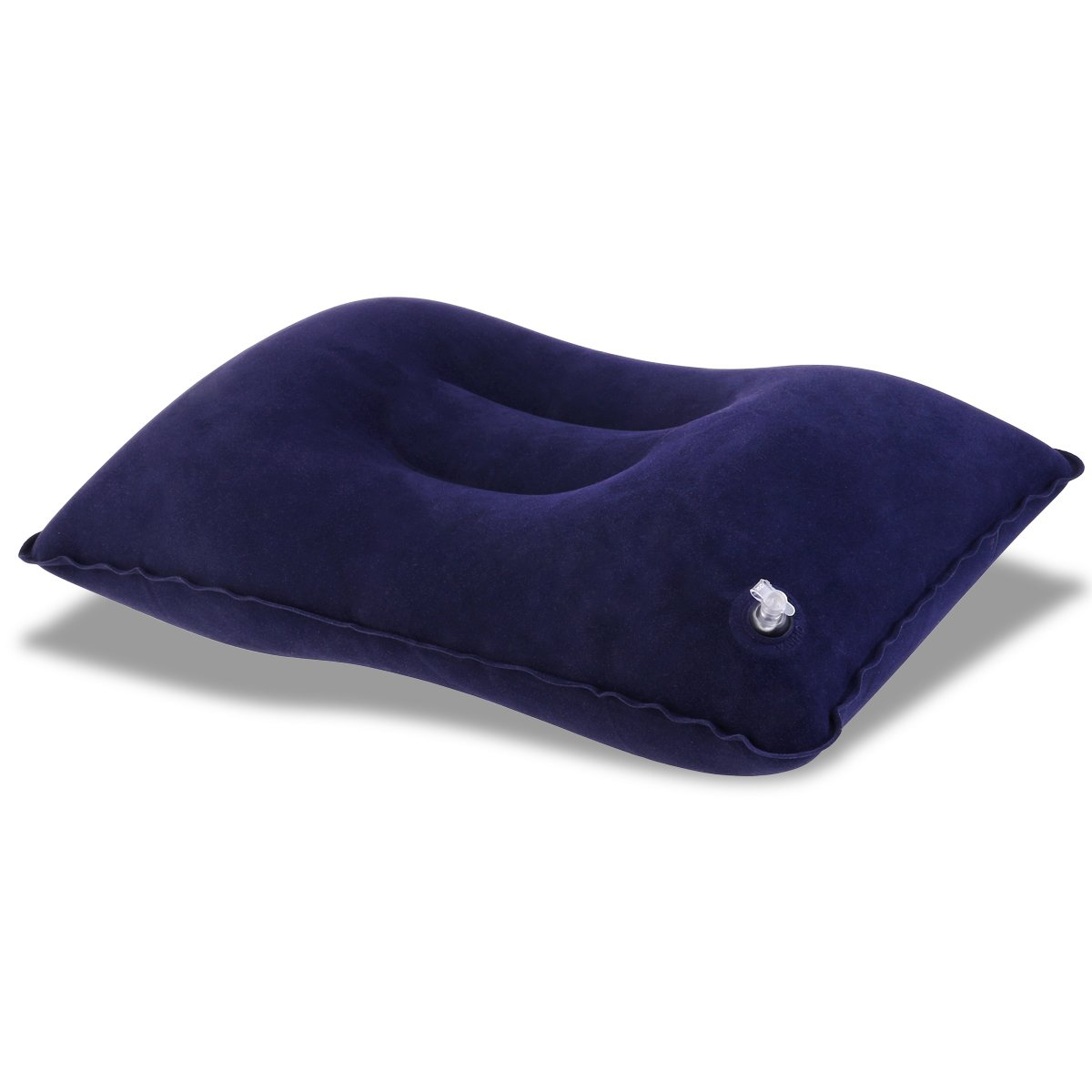 Dark Blue NUOLUX Inflatable Pillow Super-thick Flocking Fabric Portable Travel Pillow for Outdoor Activities