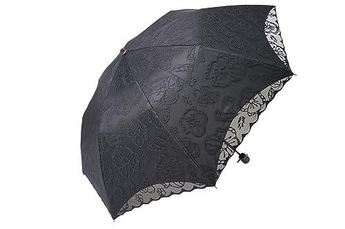 日傘折りたたみレース二重張り完全遮光晴雨兼用傘UVカット加工付(パンジー0466黒×黒)