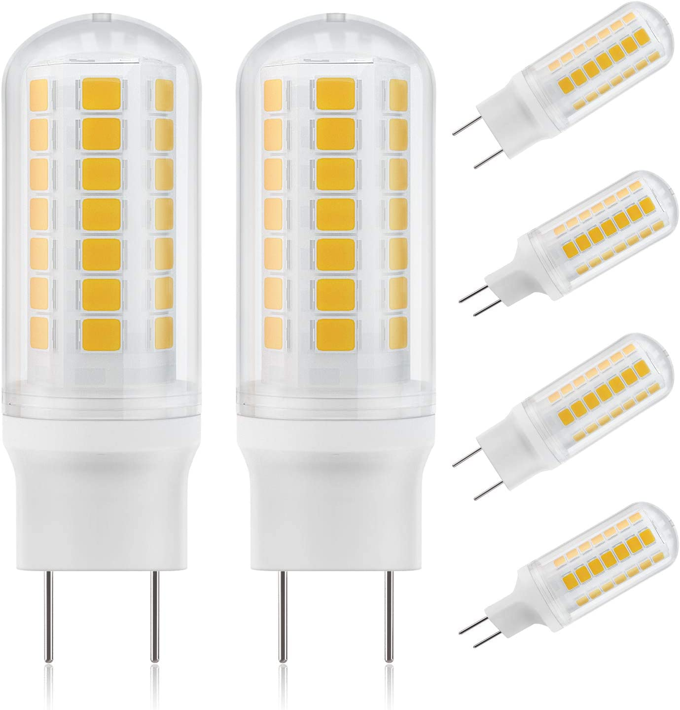 DiCUNO G8 Dimmable LED Bulb Flat Base 4W (40W Halogen Equivalent), Warm White 3000K, 450LM, Bi Pin Base Bulb Replacement for Under Counter, Under-Cabinet Light and Puck Light, 6 Pack