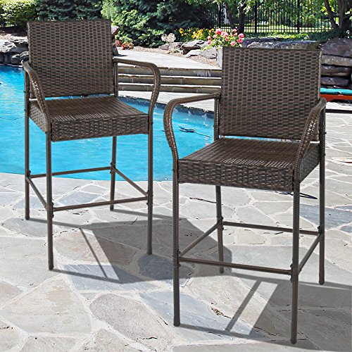 Best Choice Products Set of 2 Outdoor Brown Wicker Barstool Outdoor Patio Furniture Bar Stool (High Bar Stools Back Rattan)