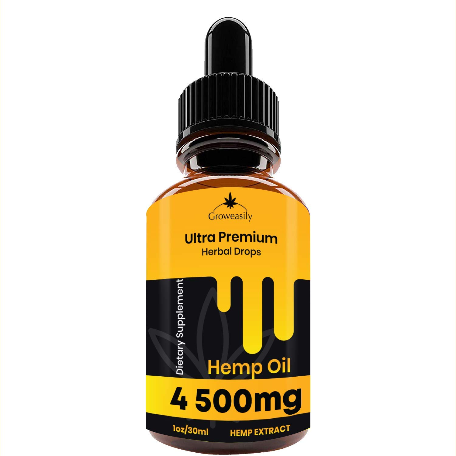 Organic Hemp Oil Drops 7500mg, Pure Full-Spectrum Support for Anxiety and Pain Relief, Natural Anti-Inflammatory, Omega Fatty Acids, Cold-Pressed Extract
