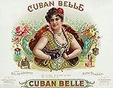 Cuban Belle Brand Cigar Box Label (9x12 Art Print, Wall Decor Travel Poster)