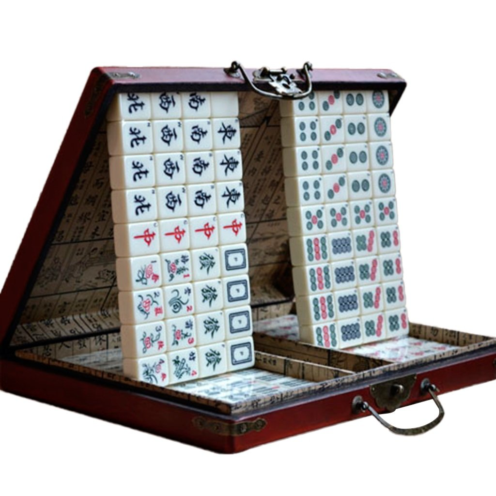 LI JING SHOP - Home Hand Reiben Große Mahjong Reise Portable Mahjong Größe: 2.4 * 1.8 * 1.3CM (Single)