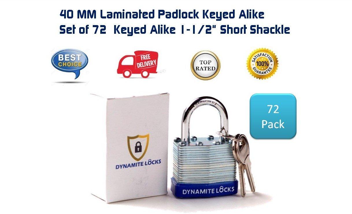 72 PC padlocks keyed alike 72-pack LAMINATED PADLOCK 40MM KEY ALIKE SHORT SHACKLE COMMERCIAL GRADE SECURITY PAD LOCKS PADLOCK KEYED THE SAME A LIKE by Dynamite Locks (Image #3)