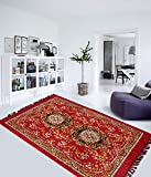 """Home Elite Traditional Abstract Polyester Carpet - 55""""x80"""", Red"""