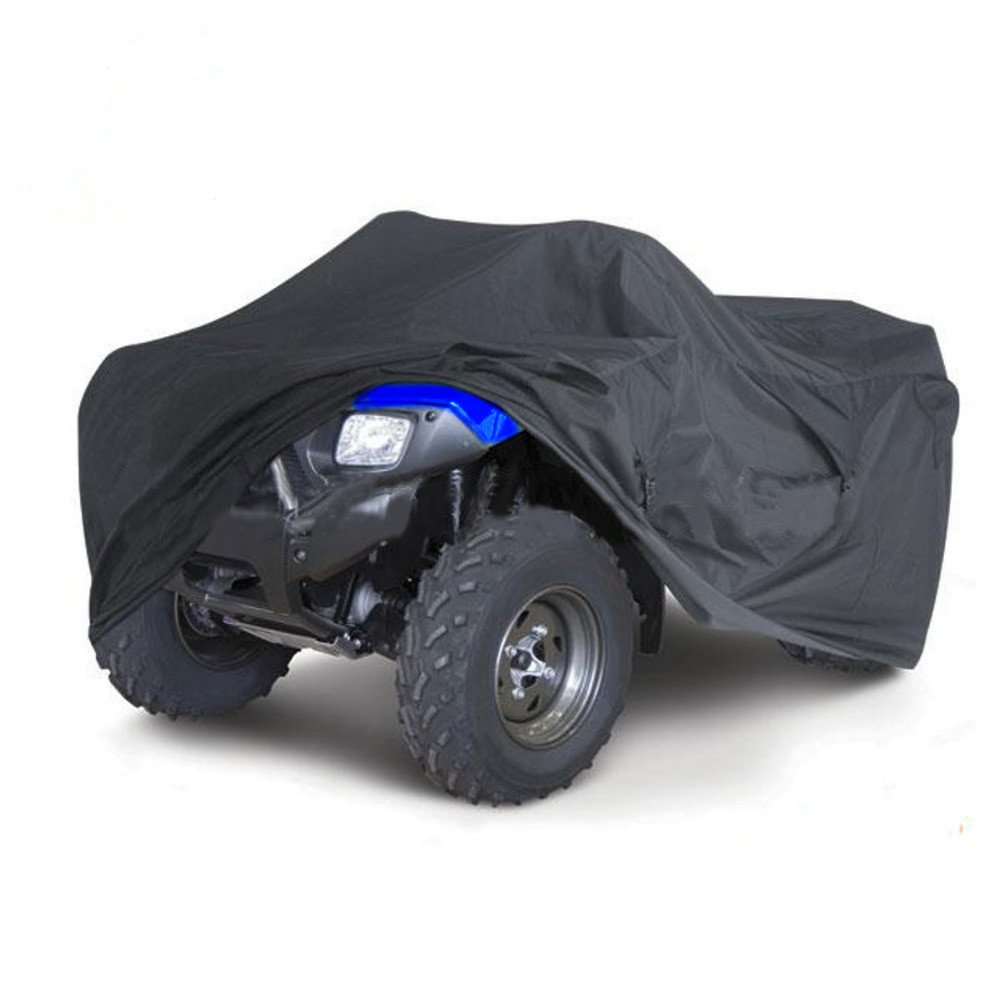 Sanku Waterproof ATV Cover Black All Weather Quad Bike Storage Protection, Elastic Bottom Can Be Trailerable At High Speeds(XXL 88'' x 39.2'' x 42.4'')
