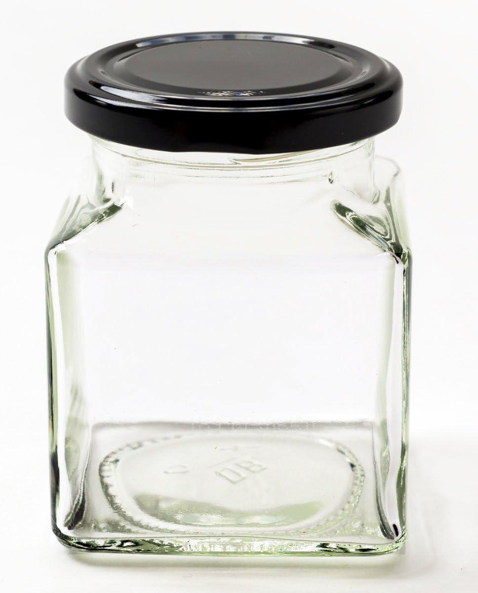 Nutleys marmellata 200 ml vasetti//barattoli Quadrati 12 Pezzi per Chutney con Il Coperchio Nero