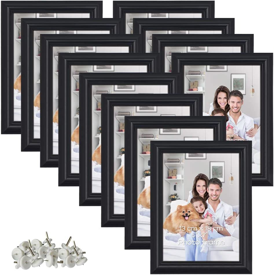 5x7 Picture Frame Set Hold 5 By 7 Inch Black Photo Frames Set Of 12 Amazon Ca Home Kitchen