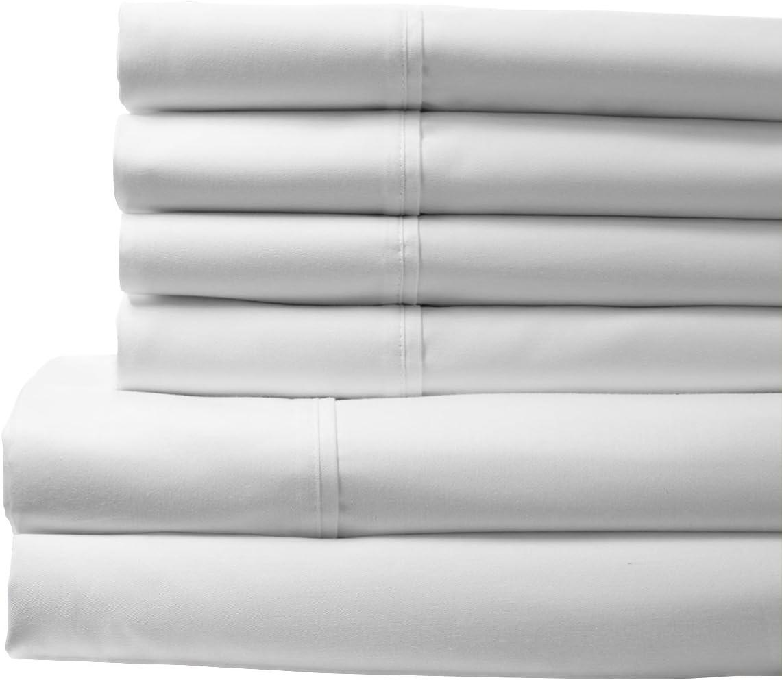 Elite Home Products T400 100% Cotton Bonus Sheet Sets,Queen,White, 6 Piece