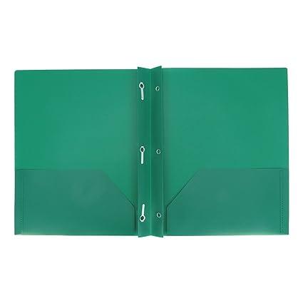 amazon com plastic folder with prongs 2 pocket up up green