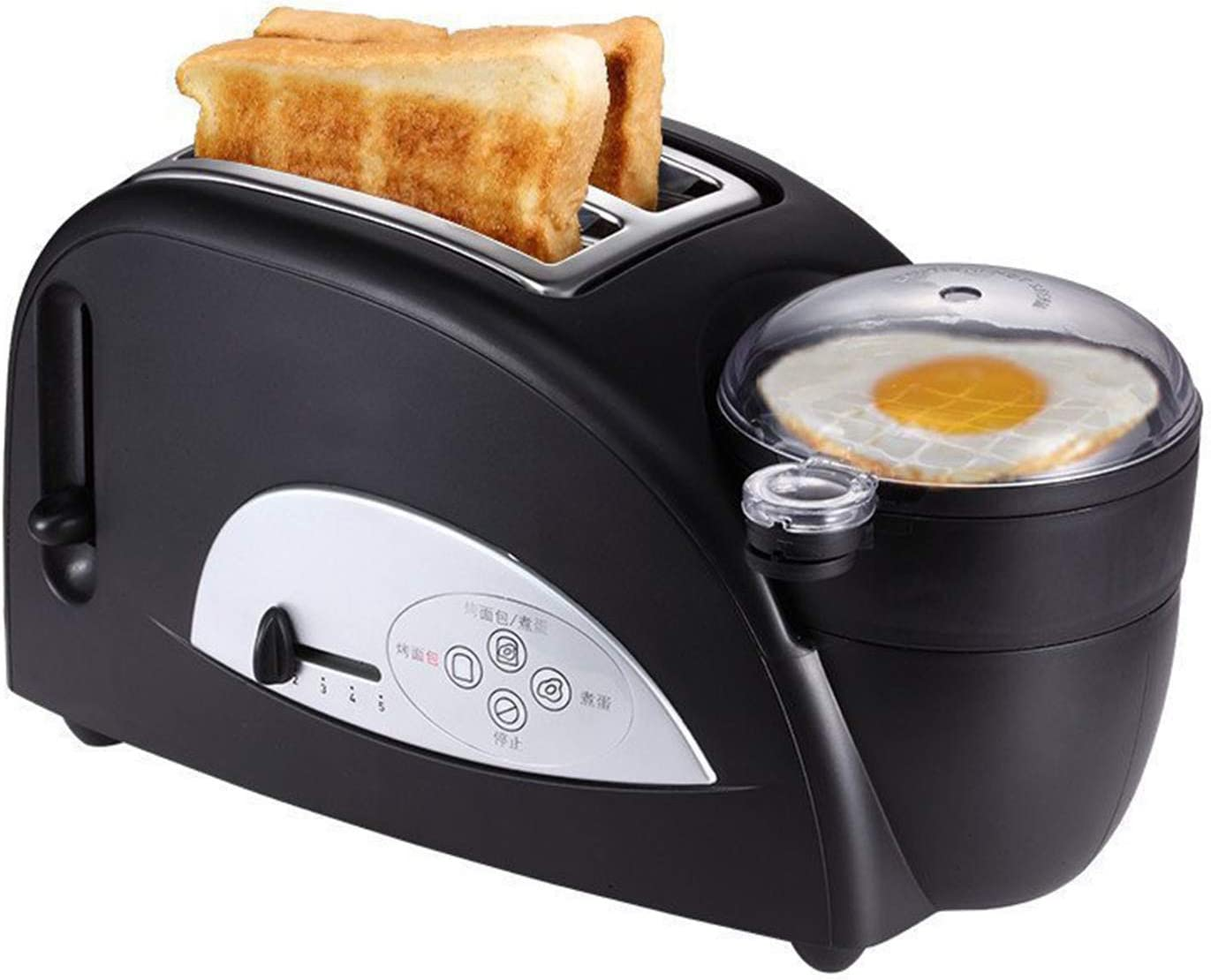 3-In-1 Multi-Function Toaster,5 Stops Roasting Color, Frying/Boiled Egg Function, Automatic Centering, Bottom Crumb Tray,Home Smart Breakfast Machine