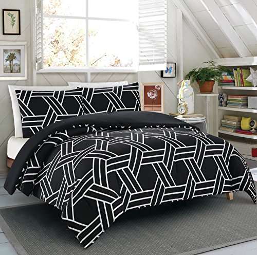 NC Home Fashions Manhattan Printed Reversible Comforter Sets, Full/Queen, Black