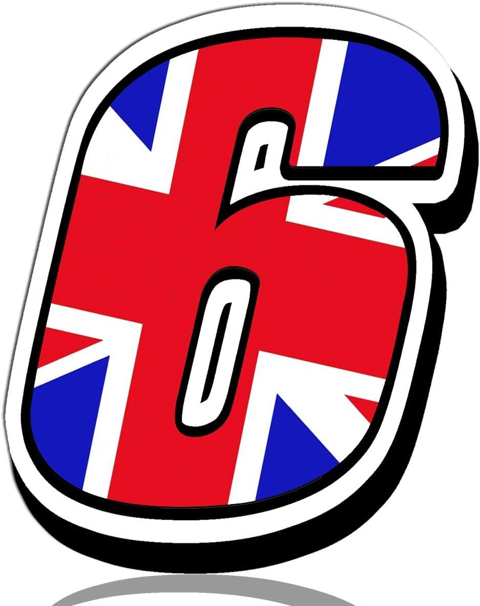 Biomar Labs® Número 6 Bandera Nacional de Gran Bretaña Reino Unido UK Calavera Vinilo Adhesivo Pegatina Coche Auto Motocross Moto Sport Start Racing Tuning N 296: Amazon.es: Coche y moto