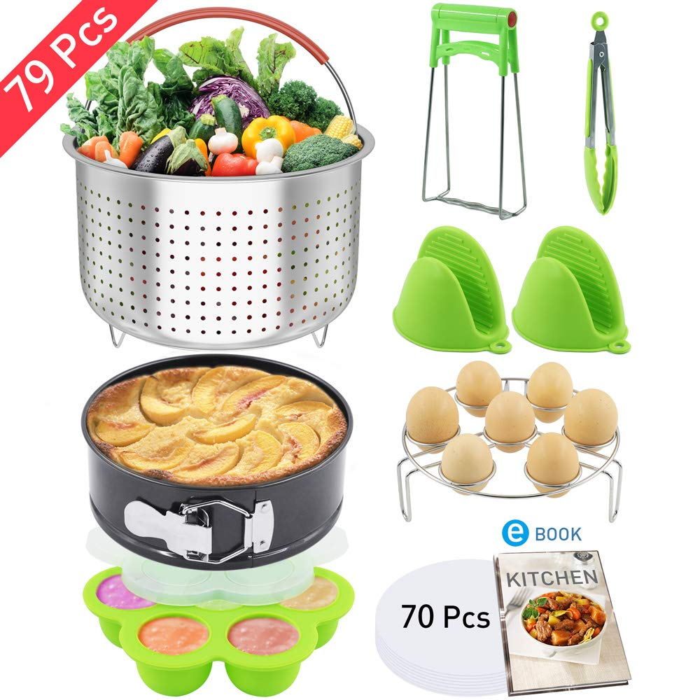 Nextamz 79 PCS Pressure Cooker Accessories Set Compatible with Instant pot 6,8 Qt - Steamer Baskets, Springform Pan, Egg Rack, Egg Bites Mold, Bowl Dish Clip, Oven Mitts,Electronic Recipe