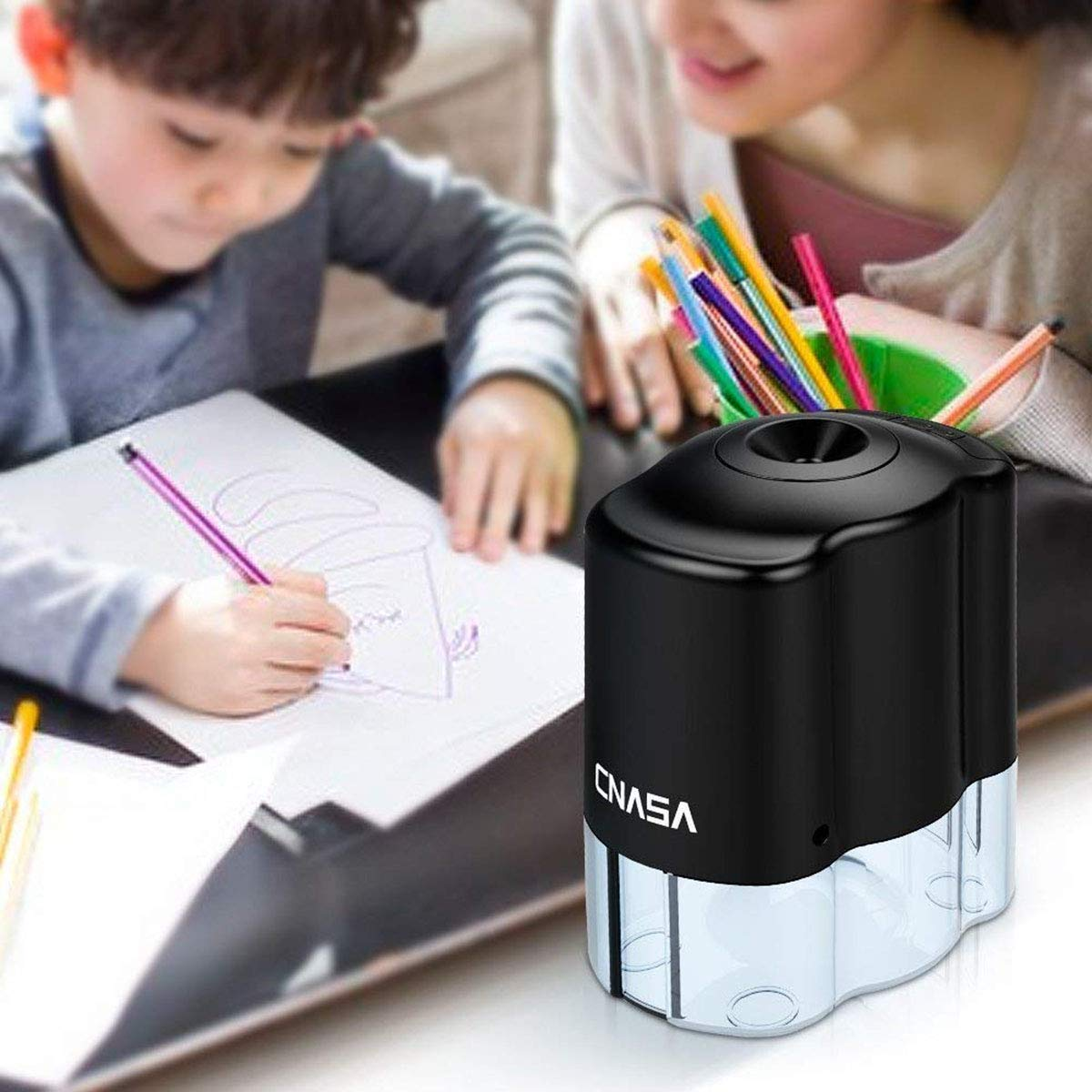 Automatic Electrical Sharpener for NO.2 Pencils and Colored Pencils,Portable Electric Sharpener by CNASA (Image #4)