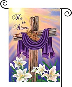 HOTSPEED Jesus Christian Garden Flag Double Sided He is Risen Cross Lord Faith Christian Religious House Garden Yard Decoration Signs Indoor Outdoor Decor 12