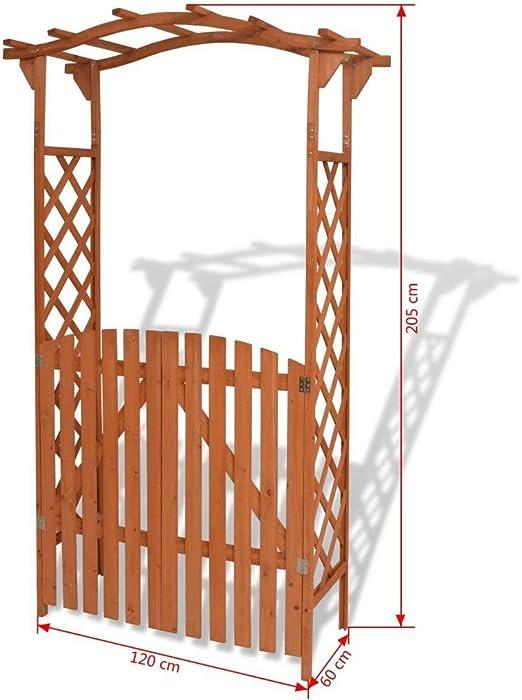 GOHINSTAR - Pérgola de Madera de Acacia para jardín con Banco y ...