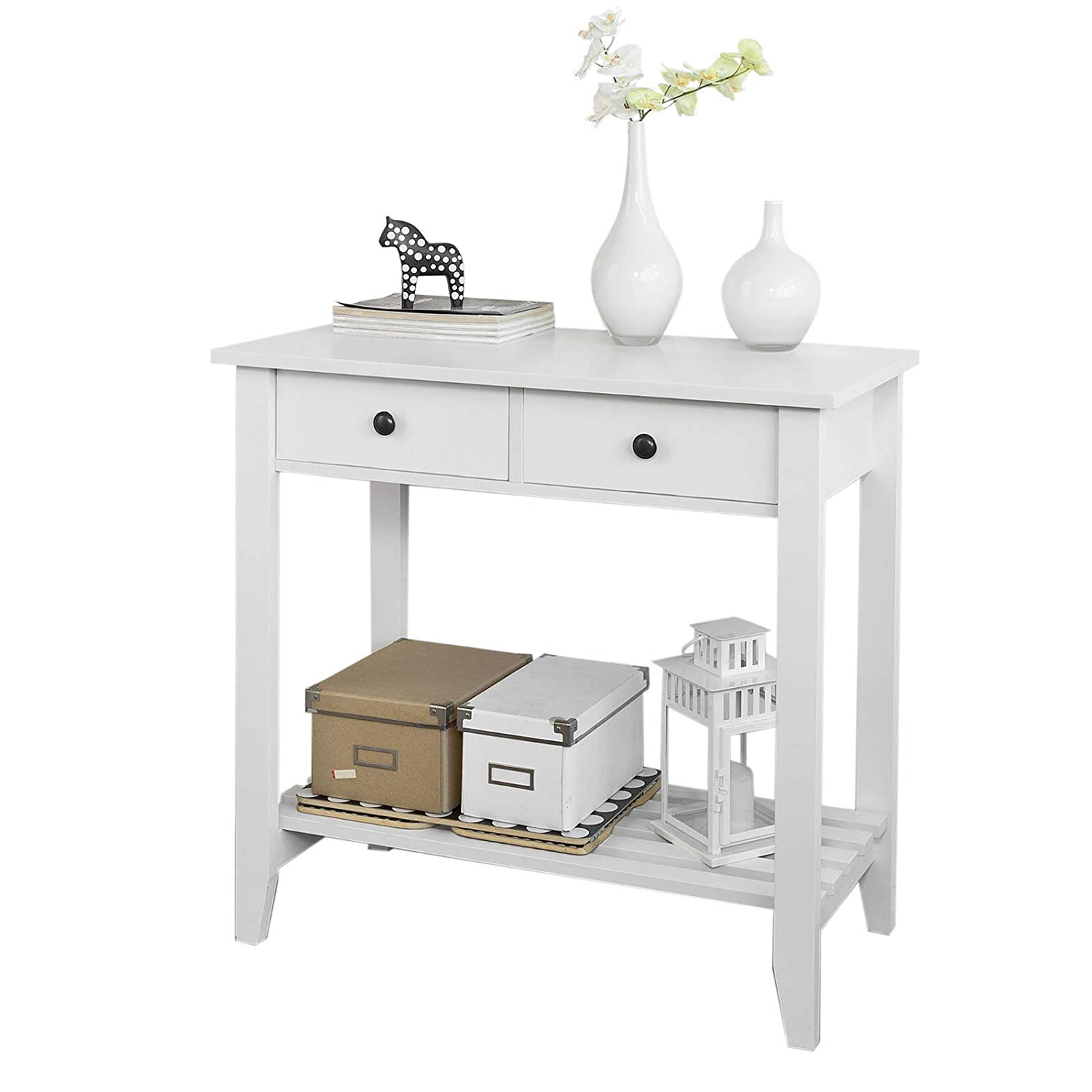 SoBuy® FSB04-W, Console Table with 2 Drawers and 1 Shelf, W85 x D40 x H80cm