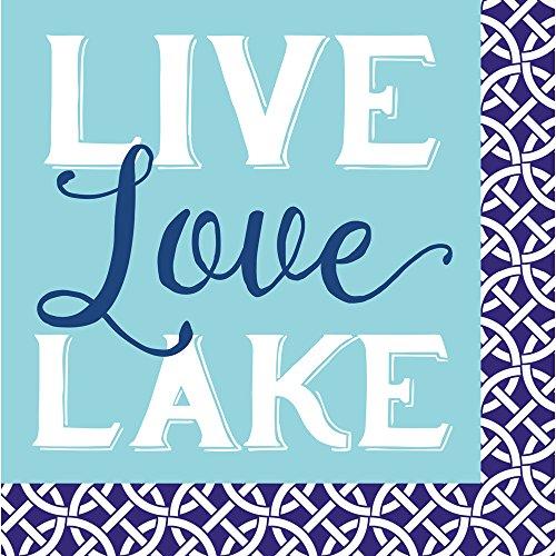 Cypress Home Live Love Lake Paper Cocktail Napkin, 20 - Lake Pembroke