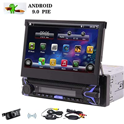 "Single Din Android 9.0 Pie Car Stereo 7"" HD Capacitive Touchscreen Bluetooth GPS Radio InDash Navigation 1 Din Auto FM AM RDS Receiver Support SWC Mirror Link WiFi CAM-in with Wireless Back-up Camera: Car Electronics"