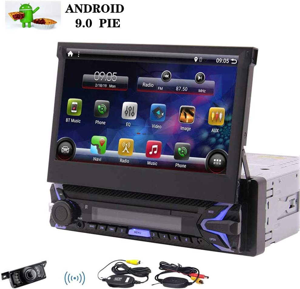 """Single Din Android 9.0 Pie Car Stereo 7"""" HD Capacitive Touchscreen Bluetooth GPS Radio InDash Navigation 1 Din Auto FM AM RDS Receiver Support SWC Mirror Link WiFi CAM-in with Wireless Back-up Camera"""