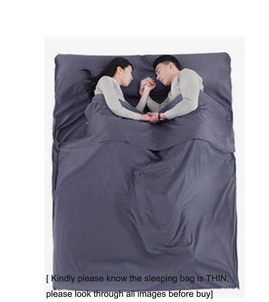 BAO CORE - Saco de dormir doble de algodón para viaje, muy ligero, para proteger la salud y evitar ropa de cama sucia, gris: Amazon.es: Deportes y aire ...