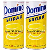 Domino Pure Cane Granulated Sugar. 20-Ounce Easy Pour Reclosable Top Canister (Pack of 2)